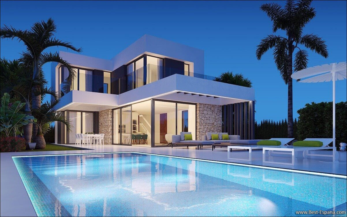 Фото дома с бассейном в испании домик у моря италия
