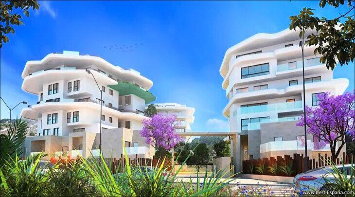 Stock Foto Neue Wohnungen in Villajoyosa am Meer