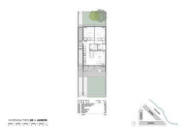 Apartment with 2 bedrooms + 2 plots, terrace